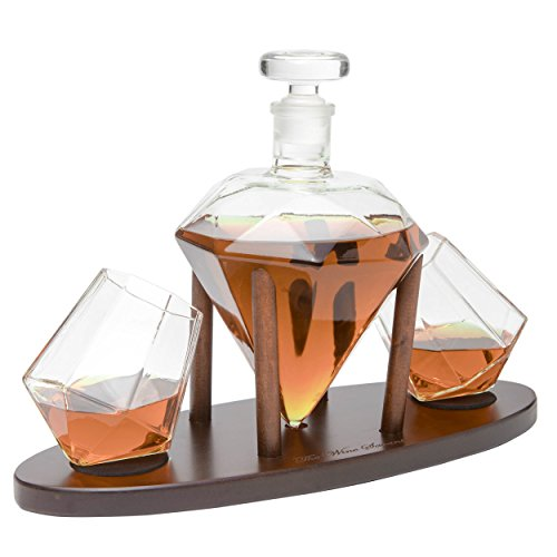 The Wine Savant Diamond Whiskey Decanter L With 2 Diamond Glasses Liquor  Scotch  Rum  Bourbon  Vodka  Tequila Decanter