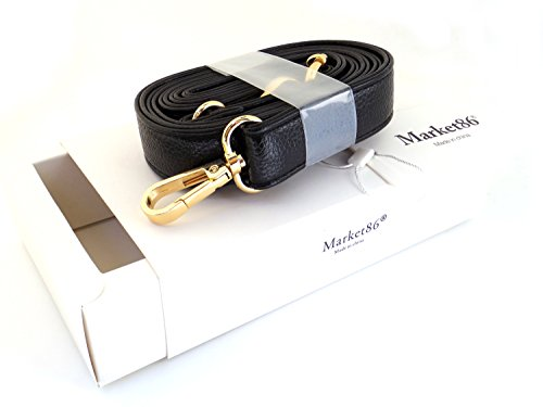 market86 Black 25mm Width Pu Leather Female Messenger Purse Replacement Strap Bag Accessories Shoulder Bag Straps Length 49.2 Inches (Golden Clasps)