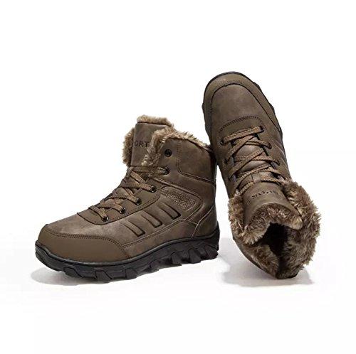Sneaker Scarpe Marrone High Boots Pelle Top Invernali Scarponi Uomo Impermeabile da Neve Stivaletti Caldo Stivali Pelliccia fTpg4w6