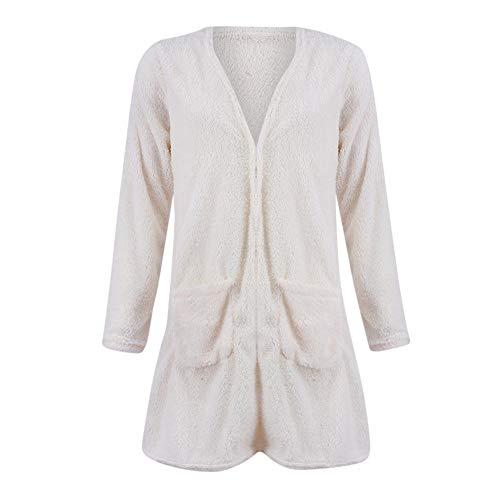 32 Blousons Manteau Avec 40 Outwear Femme Couleur Poches Unie gongzhumm Eu Hiver Polaire Jacket Chaud Cardigan Parka Coat Furry Blanc 0CwAanq0F