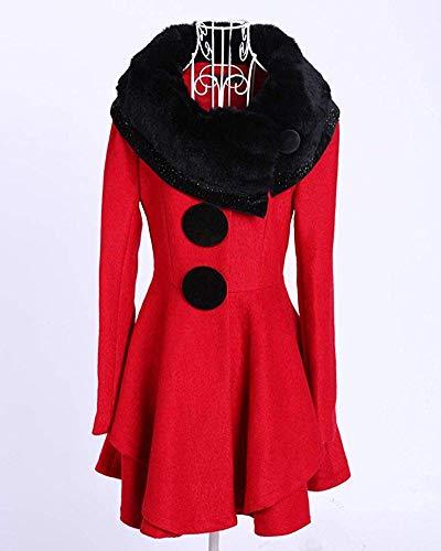 Da Donna Small Risvolto Line Dress E Capispalla Fuweiencore Giacca colore Dimensione Rosso Cappotto Con Caldo Winter A fRx5x4wAq