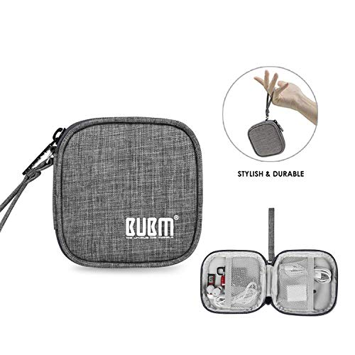 BUBM Earbud Case Carrying Case for Earphone/Earpods/Earbuds Charger Change Purse Protective Travel Pouch Cute Bag Box Portable for Accessories Carrying Bags(Grey)