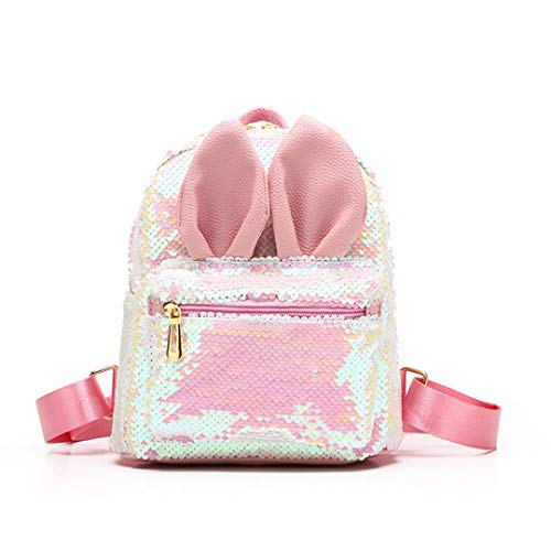 (Magic Reversible Sequins Backpack with Cute Rabbit Ears Schoolbag Shoulder Bag Mini Backpack Purses for Girls Women (Pink))