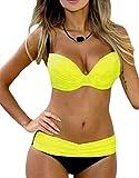 EVALESS Women Shoulder Strappy Push Up Padded Two Piece Bikini Swimsuit Large Size Yellow