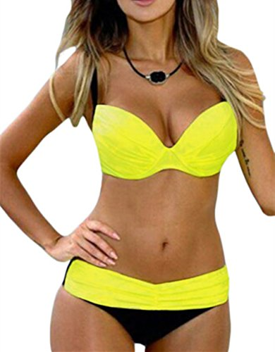 EVALESS Women Shoulder Strappy Push Up Padded Two Piece Bikini Swimsuit Medium Size Yellow