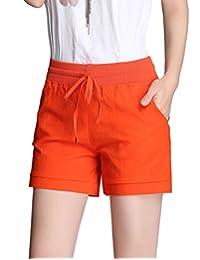 Donzev Women's Summer Linen Drawstring Elasitc Waist Casual Shorts