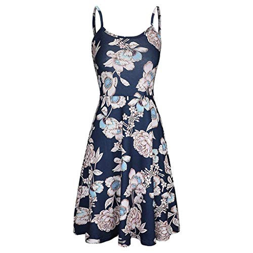 UONQD Women Summer Dresses O Neck Floral Print Vest Tank Sleeveless Flared Swing Dress Black