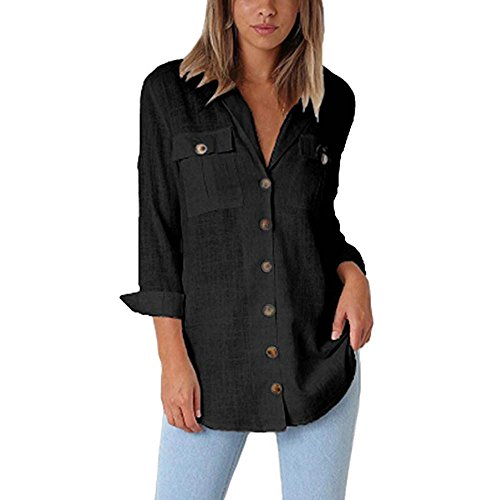 (▶HebeTop◄ Women Casual Cuffed Sleeve Button Down Shirts Blouse Loose Tops Two Front Pockets Black )