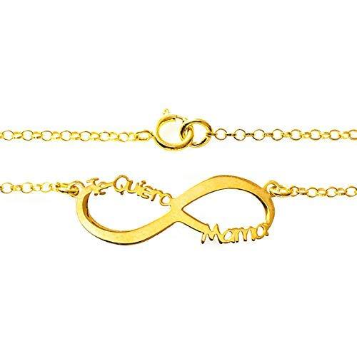 6e2b1c14b116 Collar infinito Te Quiero Mamá Plata de Ley 925 bañado en Oro ...
