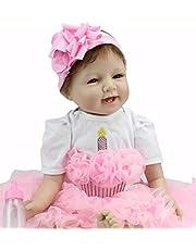 Sausiry Realistic Lifelike Reborn Baby Doll 22 inch Soft Vinyl Silicone Newborn Baby Dolls Girl