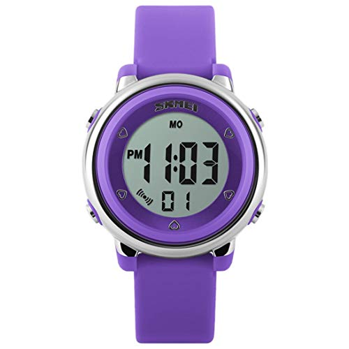 Kids Digital Watch Unisex LED Sport Watch Boys Girls First Time Teacher-7 Colours LED Backlight -5 ATM Waterproof - Alarm - Stopwatch- Soft Silicone Strap,Best Students Gift