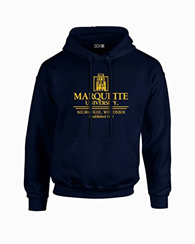 NCAA Marquette Golden Eagles Classic Seal Long Sleeve Hoodie, Small, Navy ()