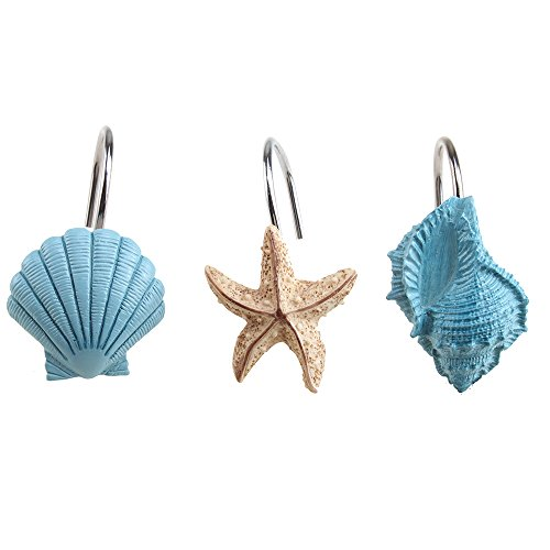 Dallas Stars Drapes (Shower Curtain Hooks, AGPtek 12PCS Anti Rust Decorative Resin Hooks for Bathroom, Baby room, Bedroom, Living room Decor (Blue Seashell))