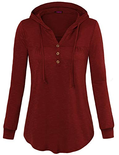 Anmery Pullover Tunic Sweatshirt Tops Sweaters Women Long Sleeve Pleated Lightweight Hoodie Shirts Wine Large