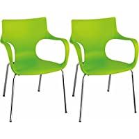 Mod Made Modern Contermporary Phin Arm Chair Dining Chair, Green, Set of 2