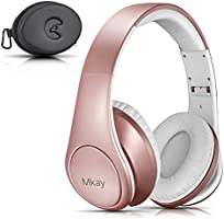 Bluetooth Headphones Over Ear, Mkay Wireless Stereo Headset Bluetooth V4.2 with Deep Bass, Foldable & Lightweight, Perfect for Cell Phone/ TV/ PC and Travelling (Rose Gold)