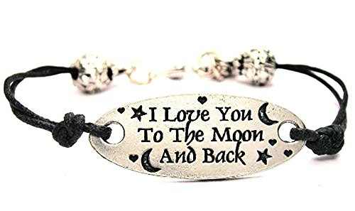 Beaded Pewter Bracelets - I Love You To The Moon and Back With Stars and Moons Black Cord Connector Pewter Beaded Bracelet