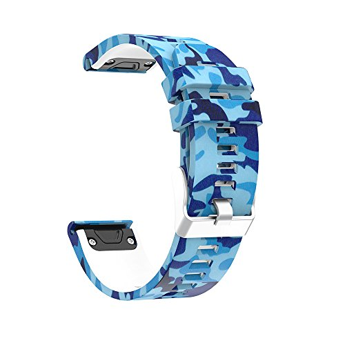 LDFAS Fenix 5 Plus Band, Quick Release Easy Fit 22mm Floral Printed Multicolor Silicone Watch Strap Compatible Garmin Fenix 5 / Forerunner 935 (J Style) by LDFAS