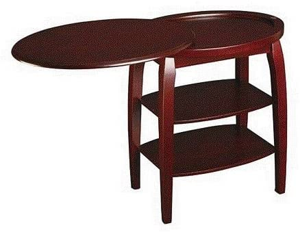 acme Traditional Style Cherry Finish Oval Magazine Table