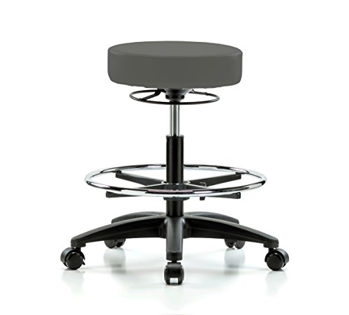 Perch Life Rolling Height Adjustable Stool with Foot Ring for Hardwood or Tile Floors, Workbench Height, Charcoal Vinyl