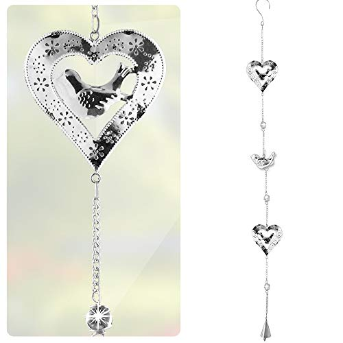 BANBERRY DESIGNS Heart Garden Decor - Silver Hearts with Birds - Filigree Hearts with Glass Marbles and Bell Chime - 38
