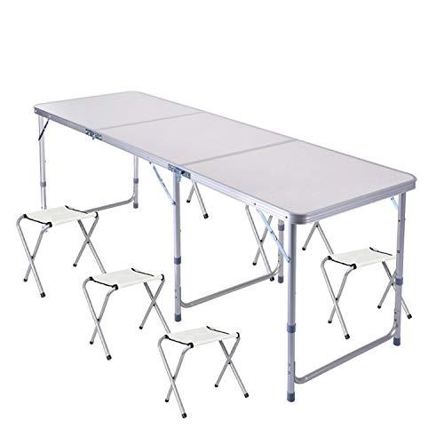 Mesa Plegable portatil 1,82 m Ajustable Plegable para Camping/Cocina/Mesa de Trabajo para Picnic/Barbacoa/Cena al Aire Libre en Interiores