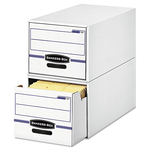 Bankers Box 00721 STOR/DRAWER File Drawer Storage Box, Letter, White/Blue (Case of 6)