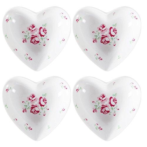 Rose Sauce Dish - SOCOSY Rose Pattern Heart Shaped Ceramic Seasoning Dishes/Sauce Dish/Tea Bag Holder/Appetizer Plates/Serving Dish (Set of 4)