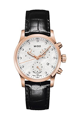 Mido Multifort Mother Of Pearl Dial Black Alligator Leather Ladies Watch M005.217.36.116.20
