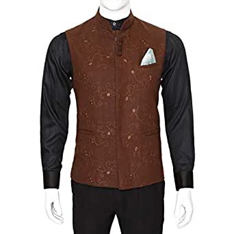 Libas Riyaz Gangji Brown Mixed Vest For Men