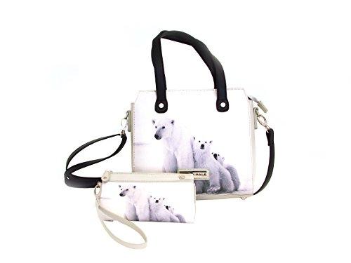 coordinato borsa e portafoglio NORTH POLE in ecopelle, con stampa sul fronte tema orso polare