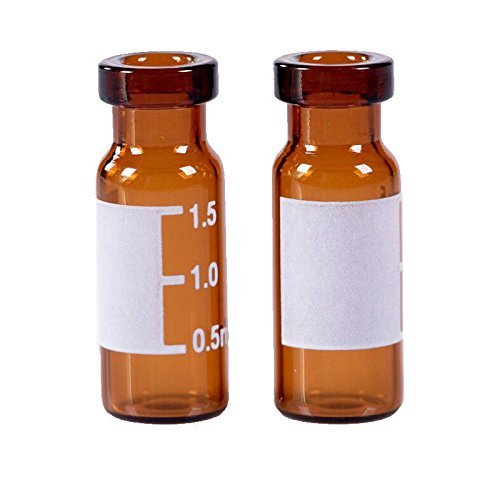 Autosampler Vials, MS Lab Supply Sample Vials 2ml Amber Vial with Write-on Spot and Graduations 11mm Crimp Top with Write Spot, 100pcs/pack