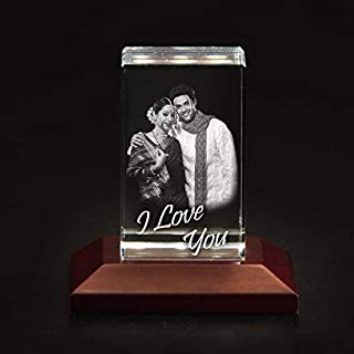 41lK5I HimL. SS320 Presto Personalized 3D Laser Engraved Crystal Cube Gifts with Free LED Light Base for Love and Proposal of Couples…