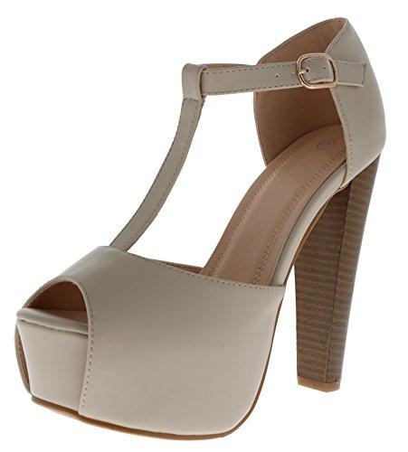 Cambridge Select Women's Peep Toe T-Strap Buckled Ankle Chunky Platform Stacked High Heel Sandal,9 B(M) US,Beige -