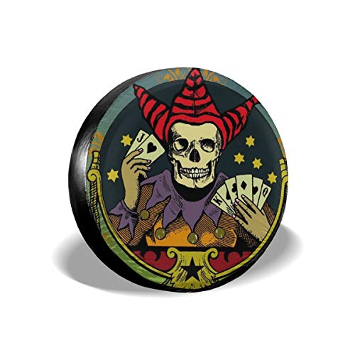 Dreamfy Fortune Teller Skull Playing Poker Tire Cover Polyester Potable Universal Spare Wheel Tire Covers for Trailer Jeep SUV RV Truck Camper Travel Trailer Accessories 14 15 16 17 -