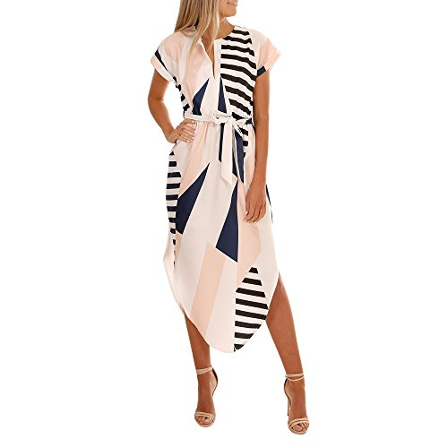 Lovor Womens Midi Dresses Summer Casual Printed V-Neck Short Sleeve Casual Office Geometric Belted Split Mini Dress(White,M)