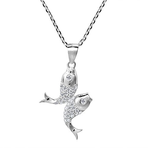 AeraVida Pisces Double Fish Zodiac Sign Cubic Zirconia .925 Sterling Silver Pendant Necklace ()
