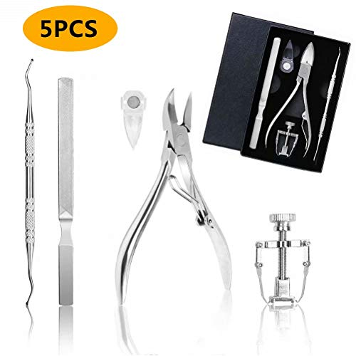 Ingrown Toenail Tool Kit 5 PCS Professional Stainless Pedicure Tools Ingrown Toe Nail Correction with Portable Box for Thick and Ingrown Nail Pedicure Corrector Tool by PartLove