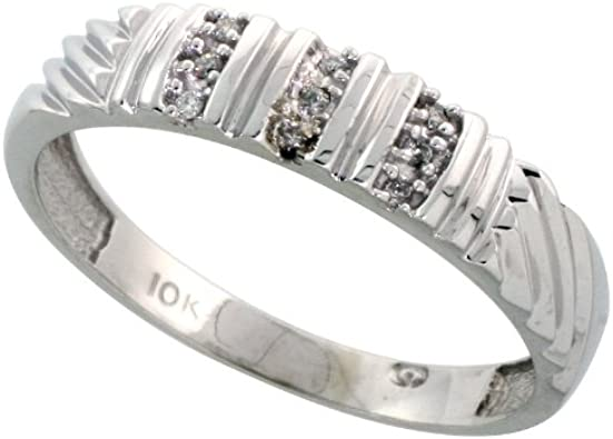 10k White Gold Diamond Engagement Ring Women 0.05 cttw Brilliant Cut 5//32 inch 4mm wide