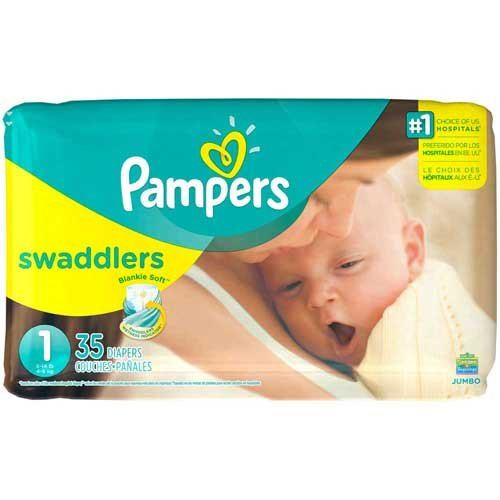 Pampers Swaddlers Size 1 Jumbo Diapers, 35 count per pack -- 4 per (Swaddlers Jumbo Pack)