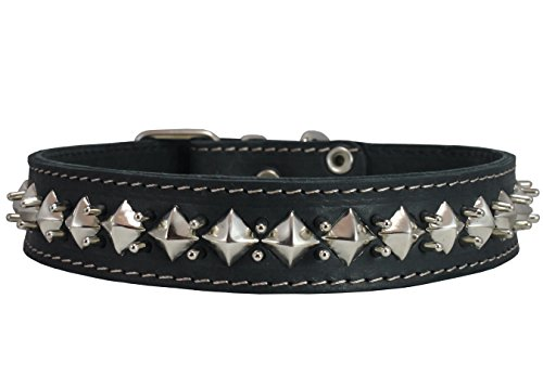 Thick Genuine Leather Spiked Studded Dog Collar 1.5