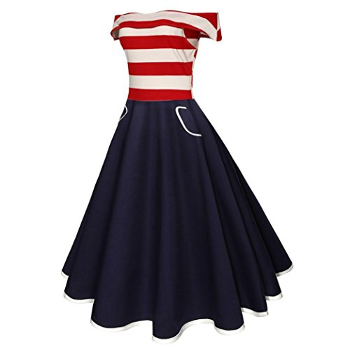 American Flag Dress,Womens Vintage Off-Shoulder Flag Printing Evening Party Prom Swing Dress Lady Patriotic Skirt