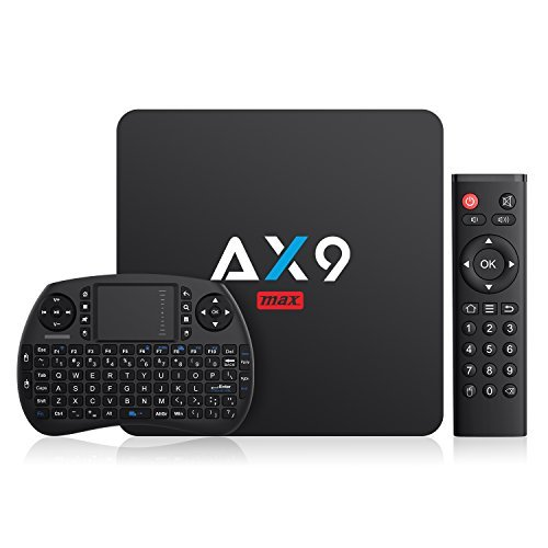 Bqeel AX9 Max (2+16G) Android 7.1 TV Box with Mini Keyboard Amlogic Quad-core 4k Android TV Box 2.4G WIFI H.265 Smart TV Box