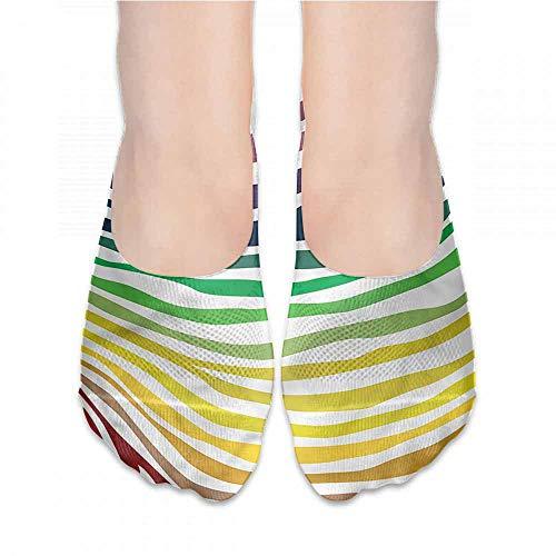 (Ankle Socks Hosiery Zebra Print,Stripes Rainbow Colors,socks men pack)