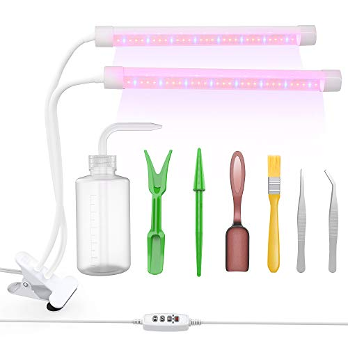 Plant Grow Light with 7pcs Gardening Tool Sets, Lightswim 64 LED Growing Lamp 18W 3/9/12H Timer, Spectrum Switching, Adjustable Gooseneck for Indoor Garden