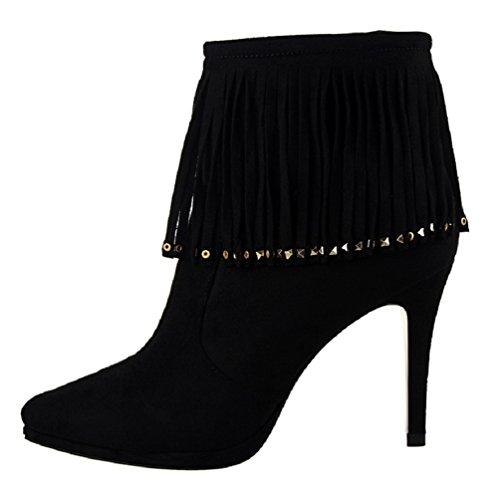 HooH Women's Winter Zipper Tassel Rivet Ankle Boots Black u8NiCOOylg