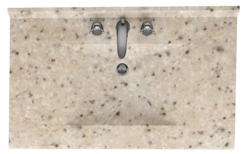 (Swanstone CV2243-040 Contour Solid Surface Single-Bowl Vanity Top 43-Inch by 22-Inch Bermuda)