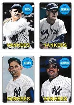 2013 Topps Archives 1969 4-in-1 Sticker #69S-RGBJ Babe Ruth//Lou Gehrig//Yogi Berra//Reggie Jackson Yankees Baseball Card NM-MT