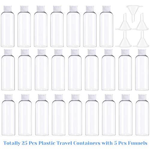 2 oz Clear Plastic Empty Bottles, Selizo 25 Pcs Travel Size Bottles with Flip Cap Small Bottles for Liquids Toiletries Shampoo Lotion Conditioner