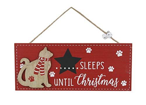 Shudehill Cat Sleeps Until Christmas Countdown Plaque (Red) (Shudehill Christmas Giftware)